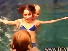 beauties bare in the pool