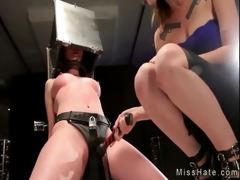 tied up babe with head in iron box receives hard