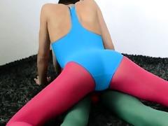 bushy lesbian babes in nylon pants makinglove