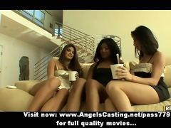 lesbian trio with dark brown angels undressing