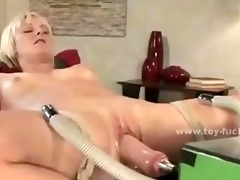 blonde whore masturbates with electric toys that