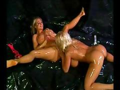 breasty chick oil wrestling