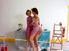 lesbian babes overspread in purple paint