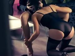sexy women sexing with belt in garters