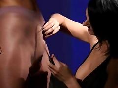 lewd brunett engulfing dong of rubber