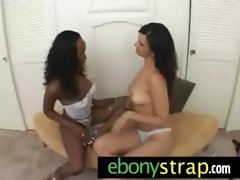 interracial lesbian babes - hard dong sex toy wet