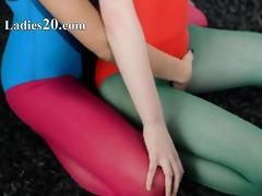 hairy lesbos in nylon pants loving