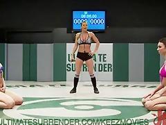 hot bikini hotty wreslting match