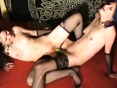 lesbo women in darksome nylons use oiled strapons