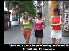 sporty youthful lesbian babes undressing and
