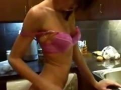 flawless masturbation in kitchen