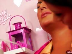 charming stylish lesbo sex-toy play