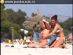 lesbos in beach