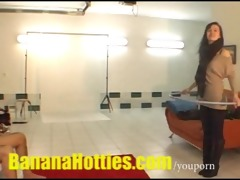 czech lesbos doing striptease at the casting
