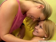 angelic blond breasty lesbos sharing sex tool