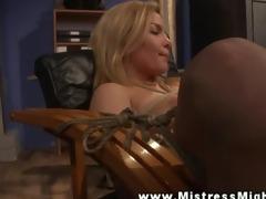 lezdom using fake penis on her fastened lesbo