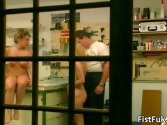 golden-haired slut getting her cum-hole fisted