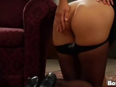 girl on her knees serving her dominatrix-bitch
