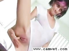 hawt emo gal soaked t-shirt web camera show at