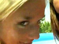 giggly bikini nubiles in the pool
