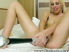 self fisting blond perverted lesbo chick enjoying