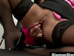charming office lesbians play and masturbate with