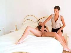 youthful playful lesbo couple goes eager