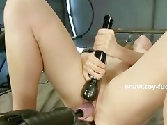 groaning golden-haired clamps her own nipps