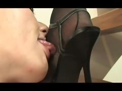 lesbian licking nylon feet