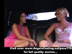 dark brown lesbo and cute hitchhiker giving a