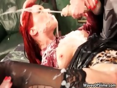 concupiscent redhead babe getting her cum-hole