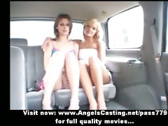 lesbo hotties and hot hitchhiker talking and