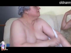 old busty granny playing with slender cutie
