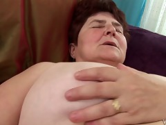 sexually excited granny gets her bushy fur pie