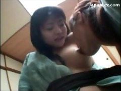 oriental gal in kimono getting her nipps sucked