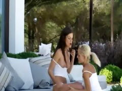 art lesbo sweethearts in spanish outdoor