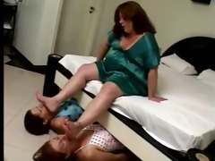 plump mistress training her slaves