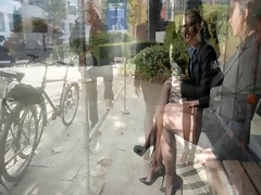 8 lesbo secretarysluts in public showing upskirt