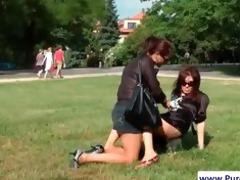 hawt lesbos widen goo on their bodies