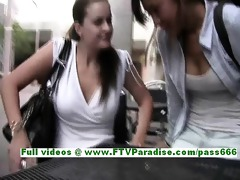 excellent lesbo womans giving a kiss and public
